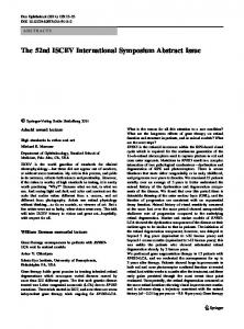 Abstracts of the 52nd ISCEV International Symposium, July 10-15
