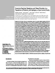 Excessive Daytime Sleepiness and Sleep Disorders in a Population of Patients with Epilepsy: a Case-Control Study.