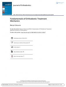 Fundamentals of Orthodontic Treatment Mechanics.