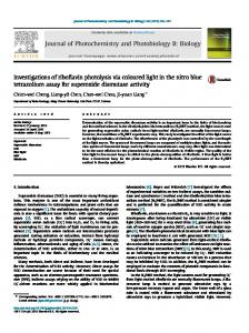 Investigations of riboflavin photolysis via coloured light in the nitro blue tetrazolium assay for superoxide dismutase activity.