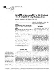 Small fiber abnormalities in skin biopsies of patients with benign