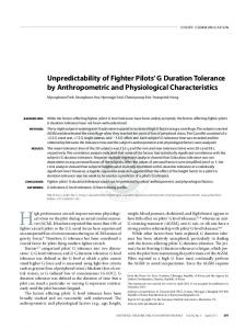 Unpredictability of fighter pilots' g duration tolerance by anthropometric and physiological characteristics.